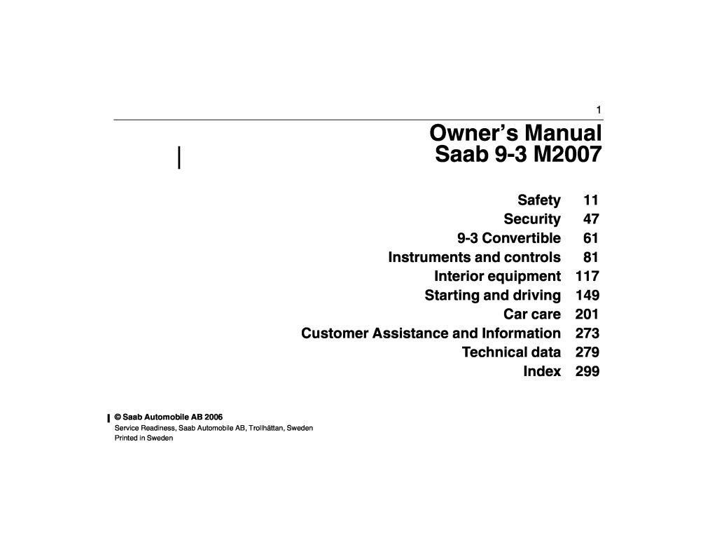 Diagram Technical Service Saab 93 2006